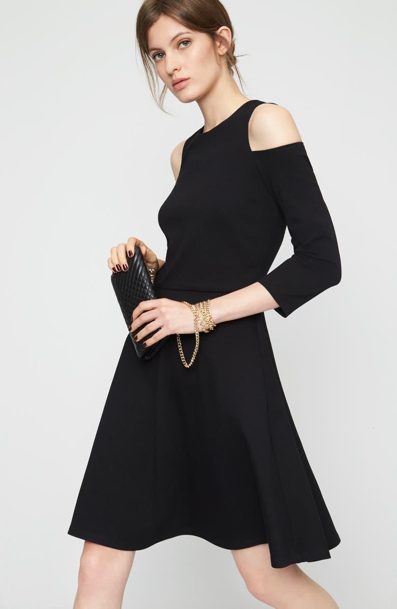 ELIZA J Cold Shoulder Fit & Flare Dress, Main, color, 001