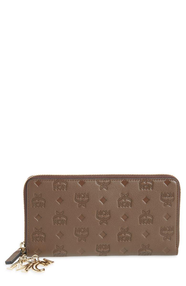 MCM Klara Leather Zip Wallet, Main, color, CHESTNUT