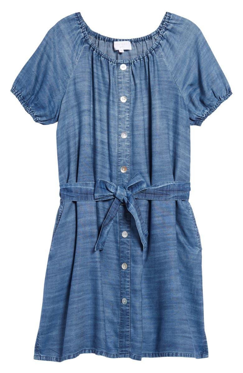 BELLA DAHL Puff Sleeve Tencel<sup>®</sup> Lyocell Dress, Main, color, 424