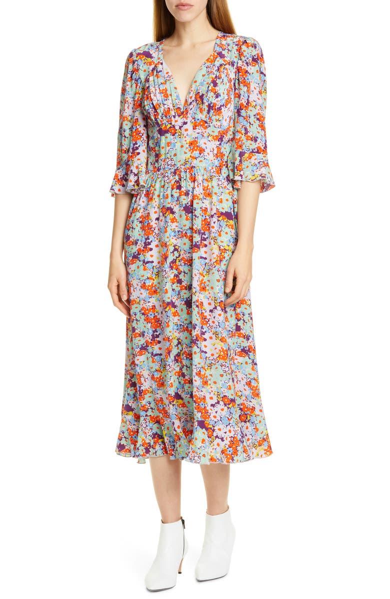STINE GOYA Evelyn Floral Print Silk Midi Dress, Main, color, RED DAFFODIL