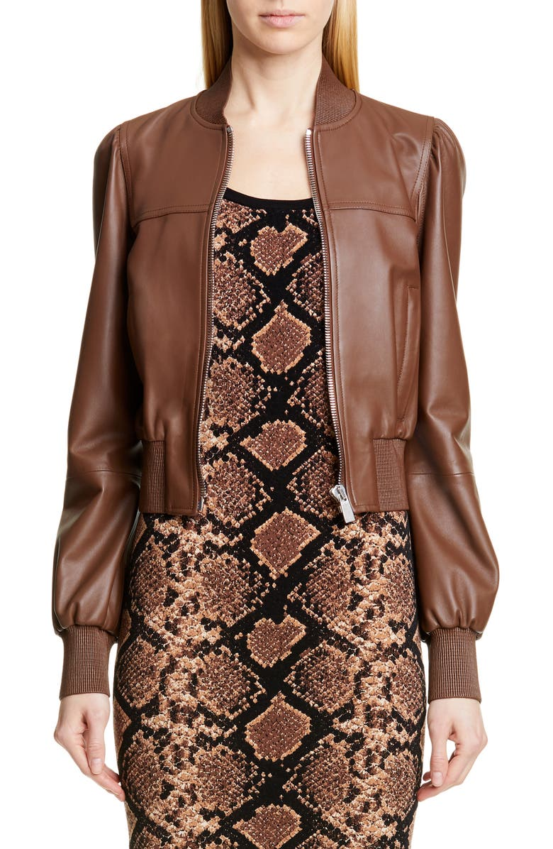 MICHAEL KORS COLLECTION Michael Kors Puff Sleeve Crop Leather Jacket, Main, color, COCOA