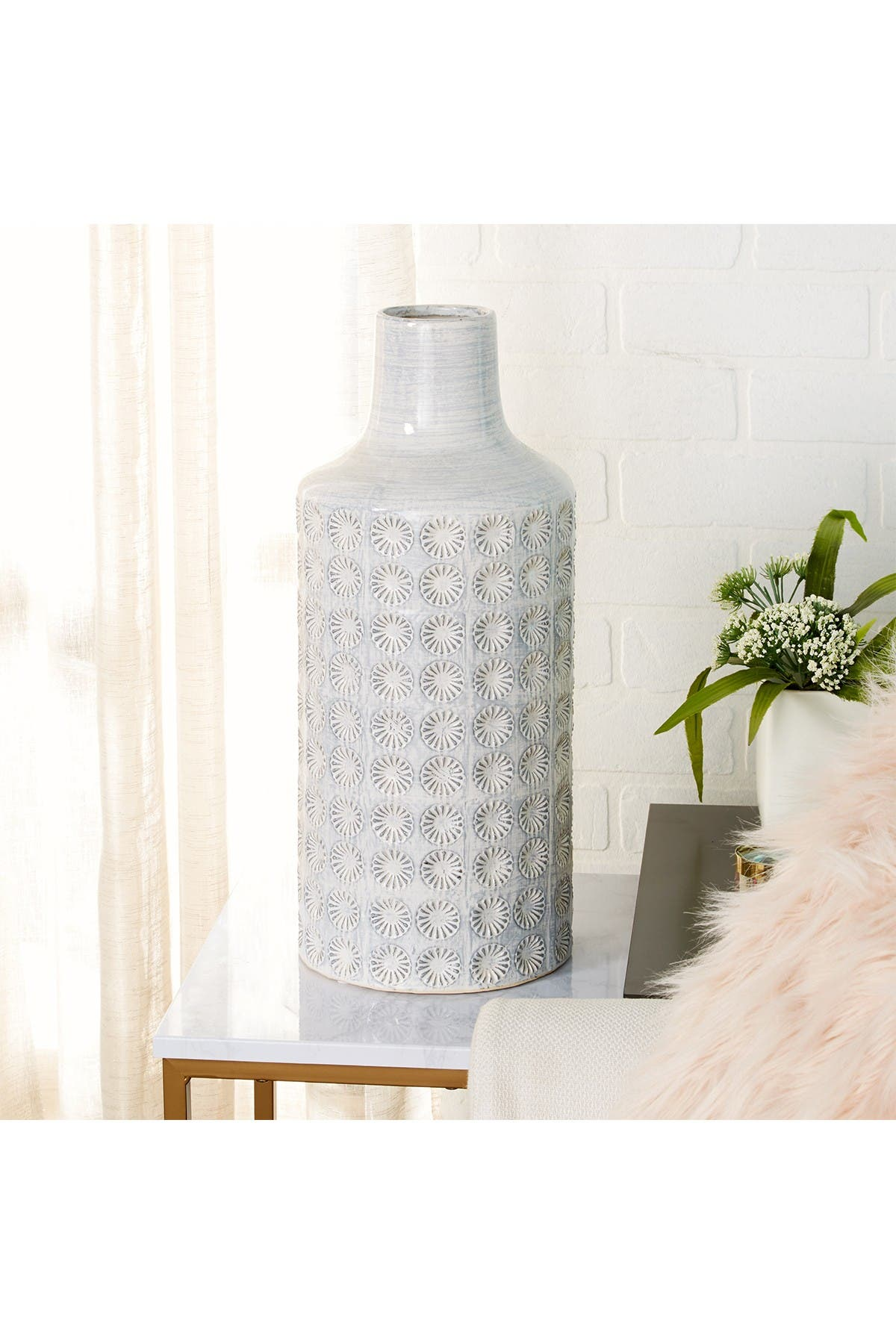 Image of CosmoLiving by Cosmopolitan Large Round Blue & White French Country Rosette Ceramic Floor Vase