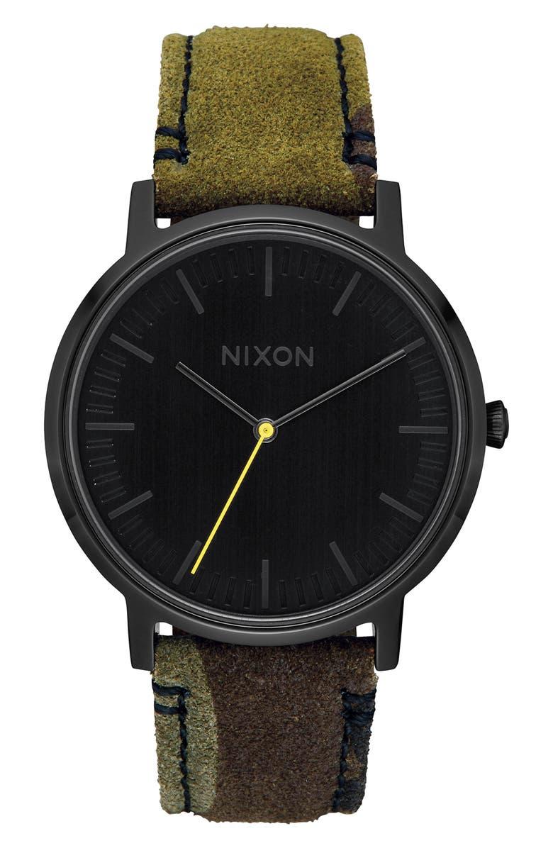 NIXON Porter Round Leather Strap Watch, 40mm, Main, color, CAMO/ BLACK