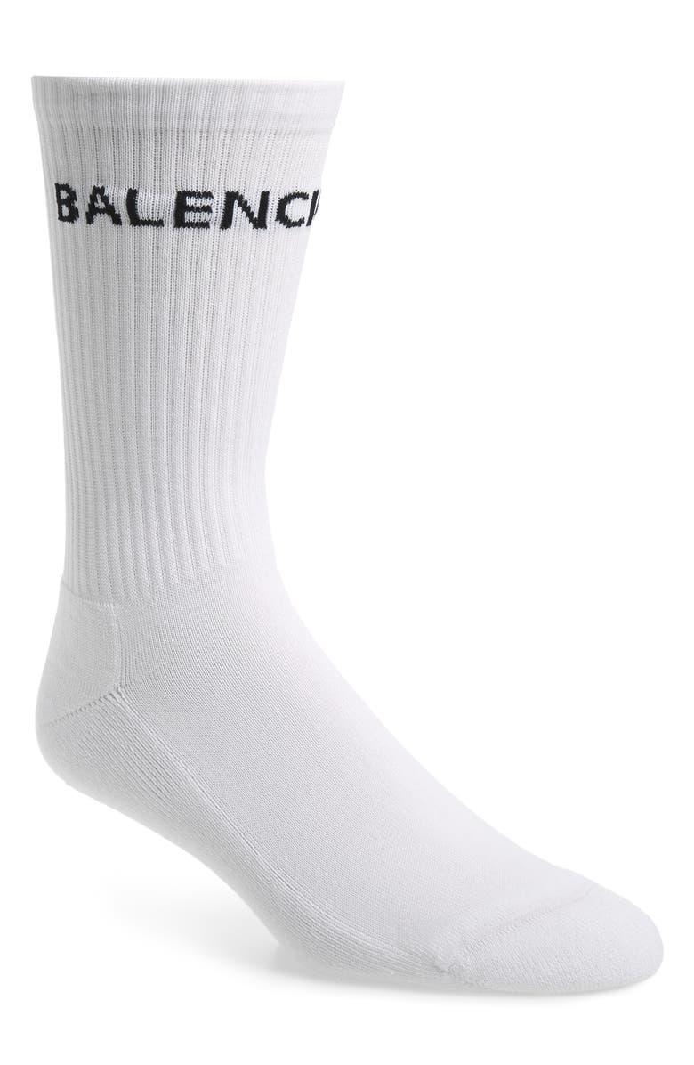BALENCIAGA Logo Tube Socks, Main, color, WHITE