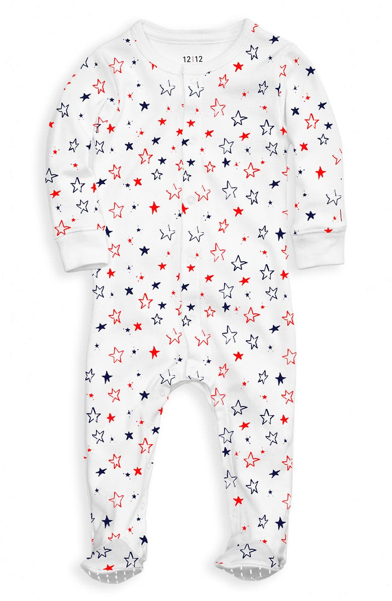 1212 The Nightly Fitted One-Piece Pajamas, Main, color, RED AND BLUE STARS