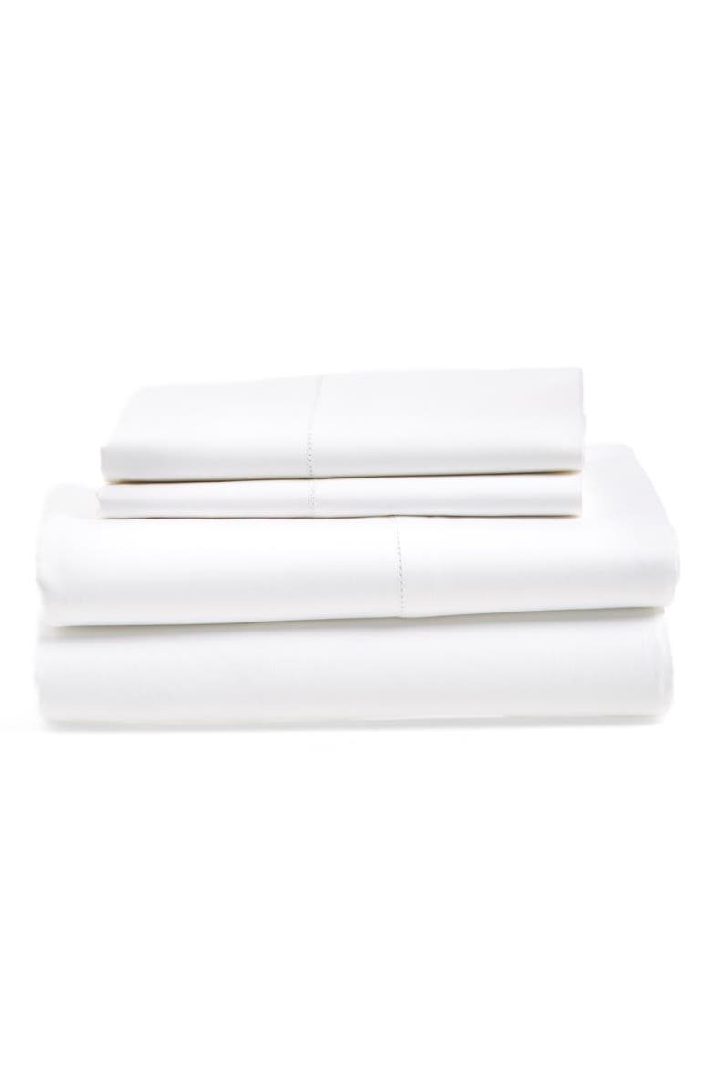 NORDSTROM AT HOME 600 Thread Count Egyptian Cotton Sateen Single Sheets, Main, color, WHITE