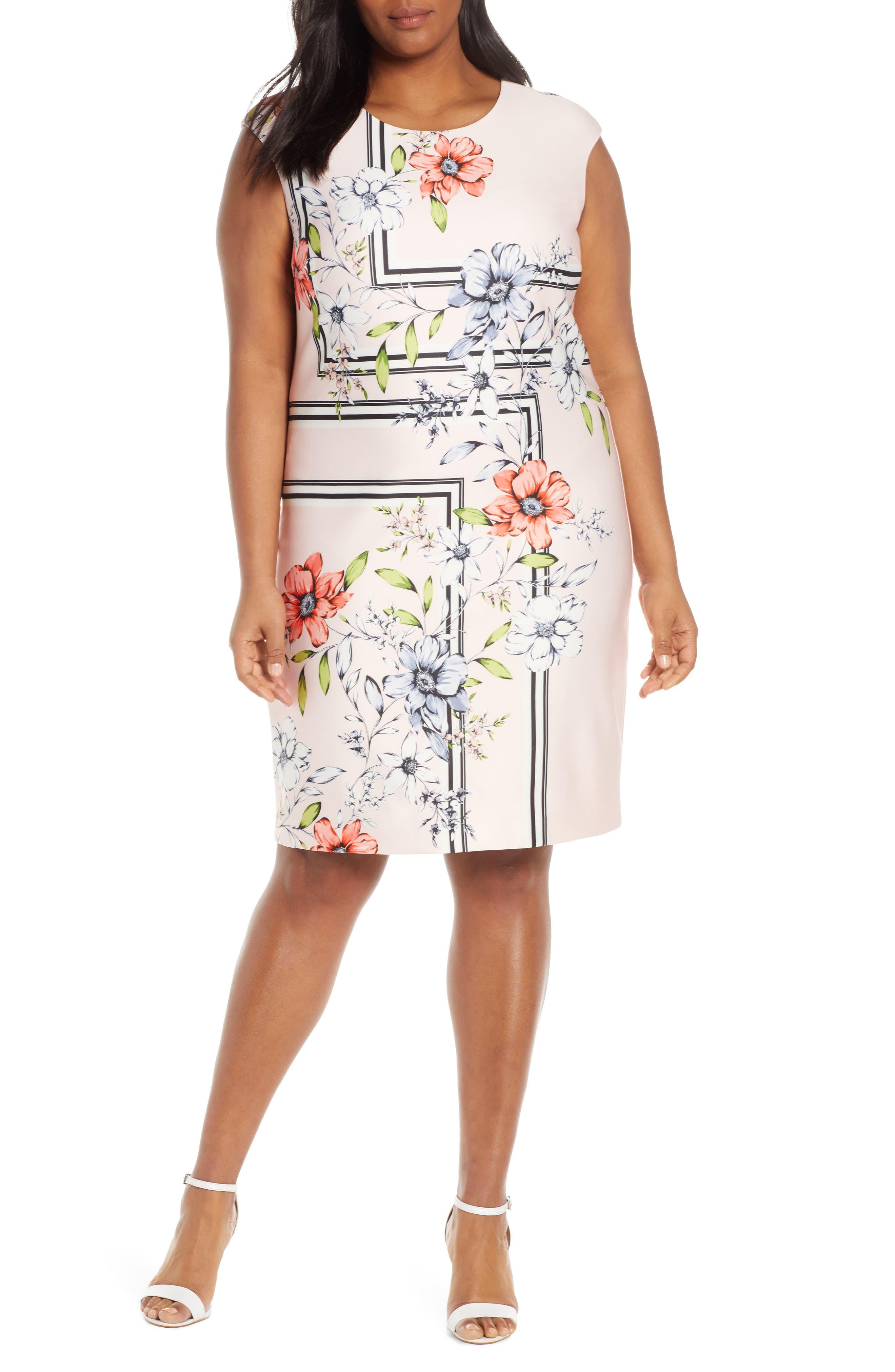 Plus Size Vince Camuto Floral Scuba Sheath Dress, Pink