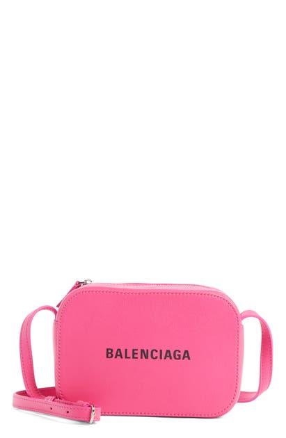 Balenciaga Extra Small Everyday Calfskin Camera Bag - Pink In Acid Fuchsia/ Black