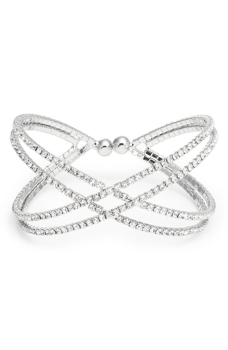 CRISTABELLE Crisscross Crystal Bracelet, Main, color, CRYSTAL