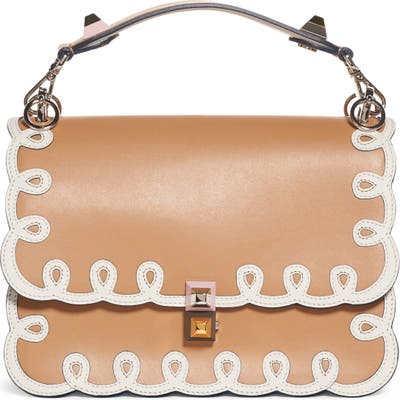 Fendi Kan I Scalloped Leather Shoulder Bag -