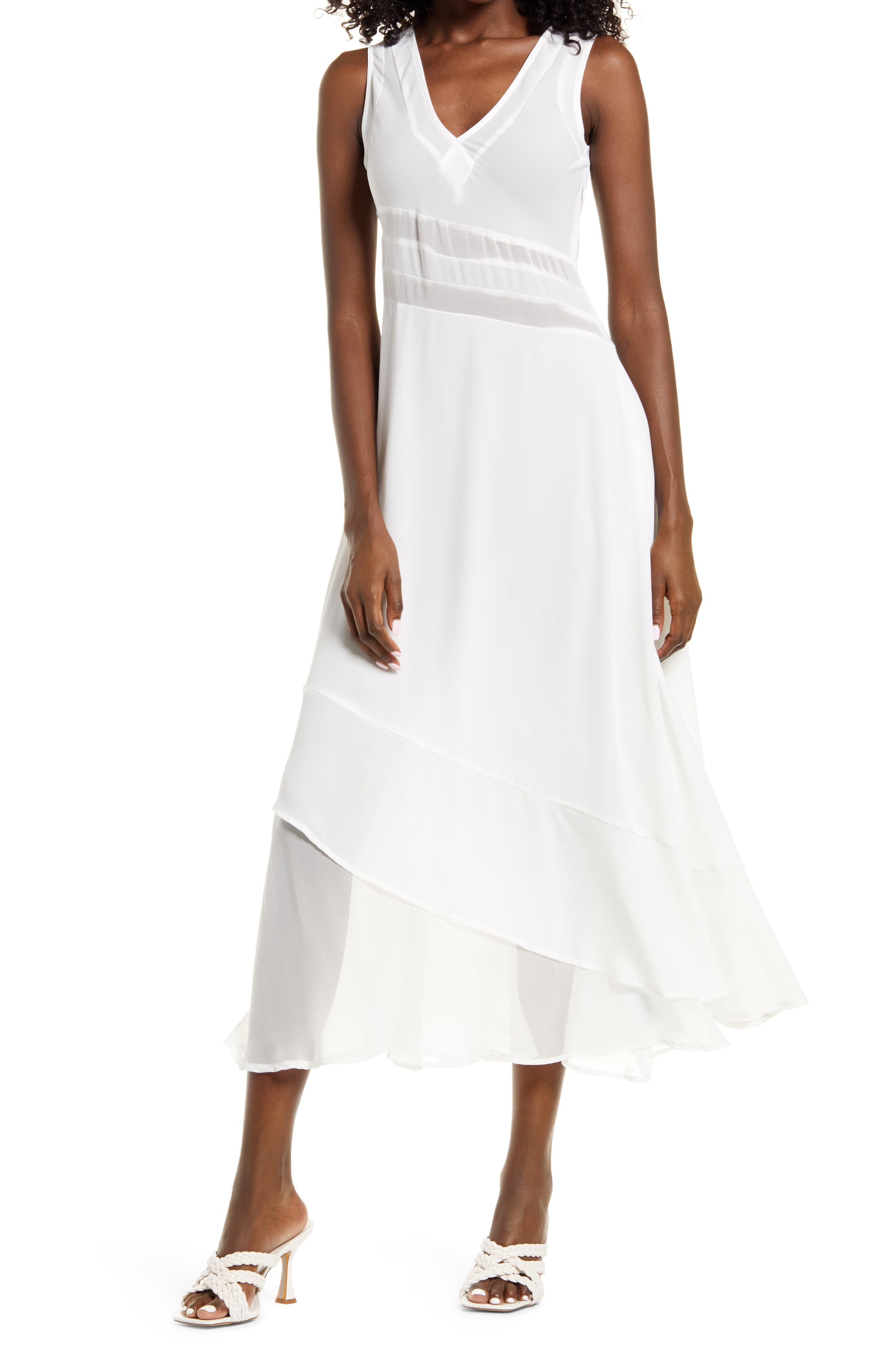 Deja Asymmetrical Mesh Midi Dress
