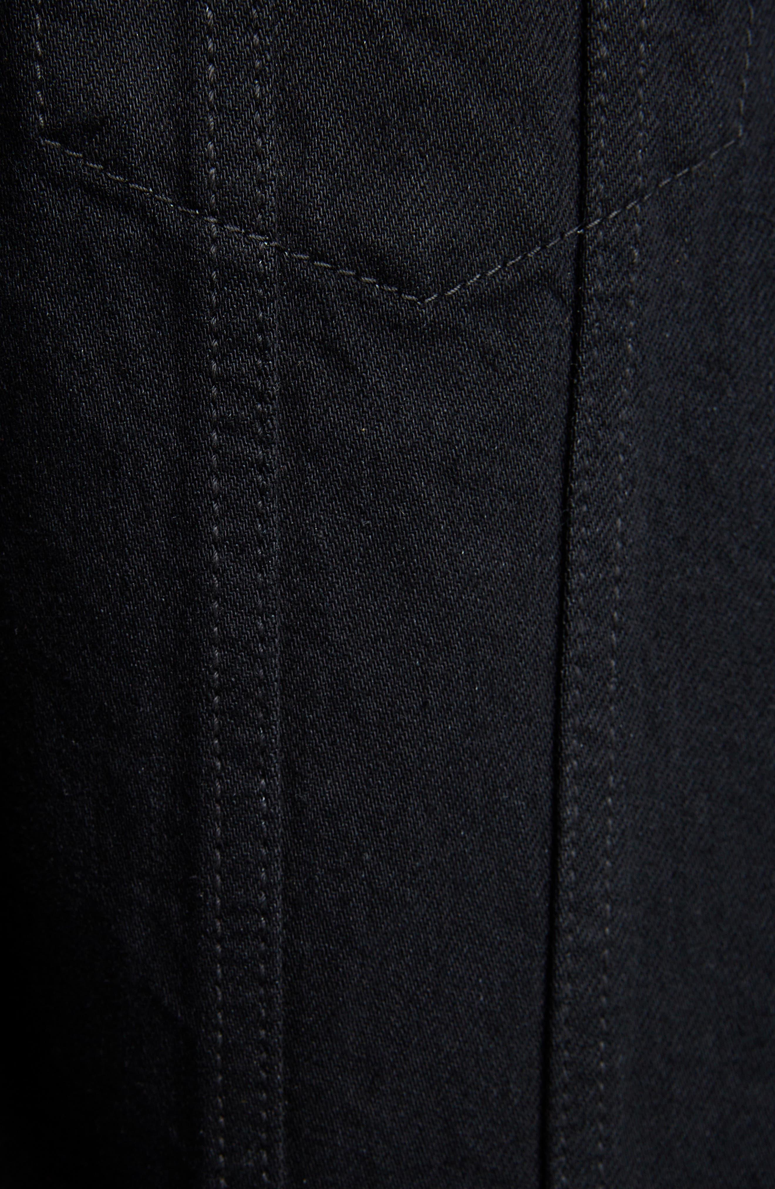,                             Fitted Denim Jacket,                             Alternate thumbnail 5, color,                             WORN BLACK