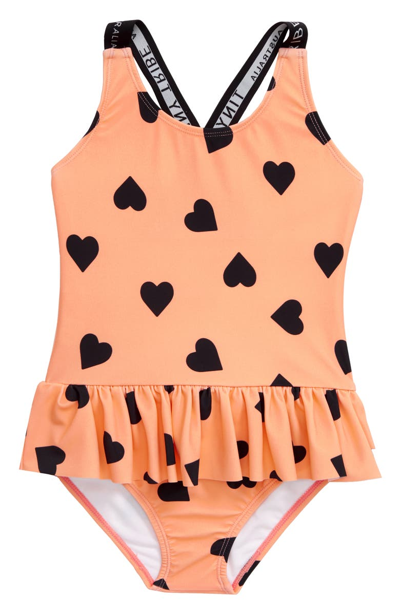 TINY TRIBE Heart Frill Skirted One-Piece Swimsuit, Main, color, PEACH