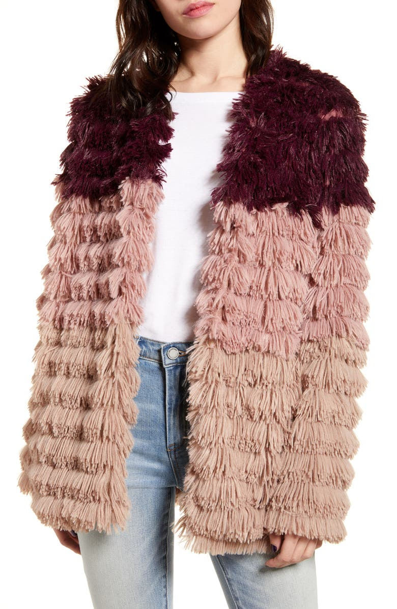 MINKPINK Lost Weekend Colorblock Faux Fur Jacket, Main, color, 650