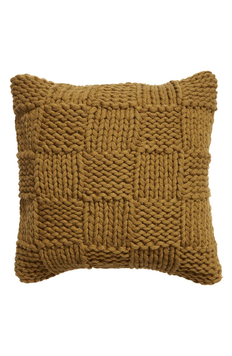 TREASURE & BOND Jersey Rope Basket Accent Pillow, Main, color, OLIVE MARSH