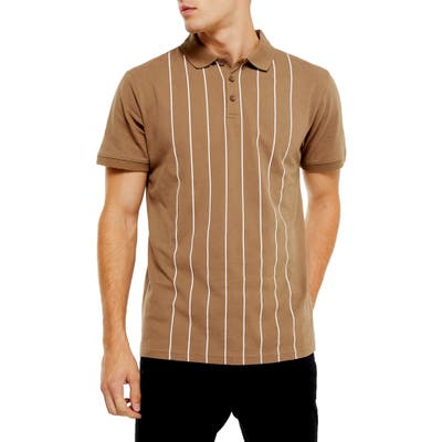 Topman Classic Fit Pinstripe Pique Polo, Brown