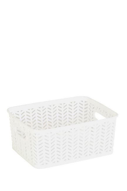 Image of Kennedy International Inc. Simplify Small Herringbone Storage Bin - White