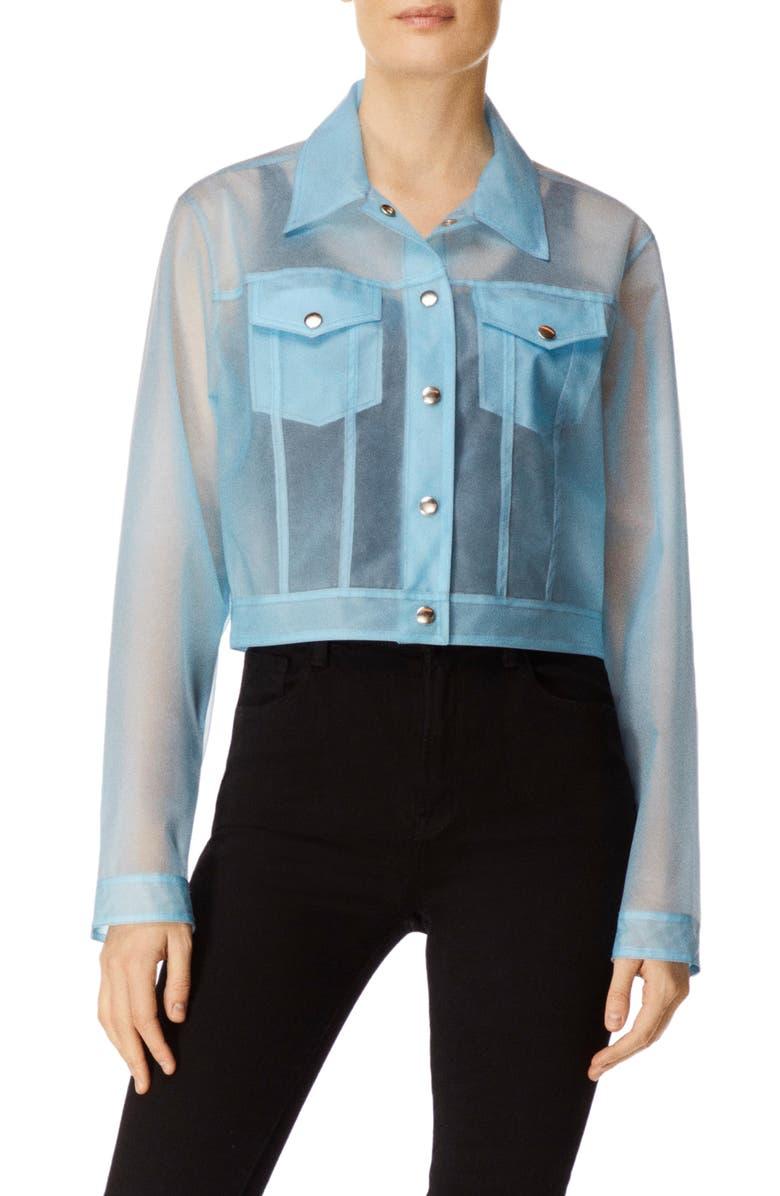 J BRAND Cyra Sheer Crop Jacket, Main, color, VEGA CLOUD