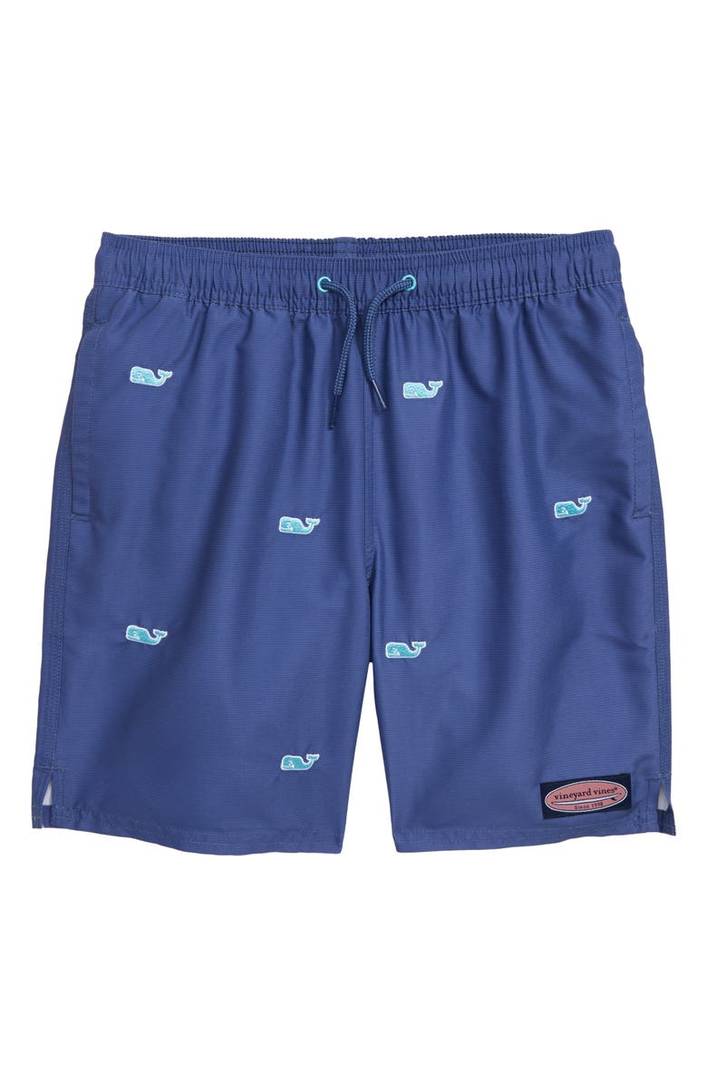VINEYARD VINES Embroidered Whale Chappy Swim Trunks, Main, color, MOONSHINE
