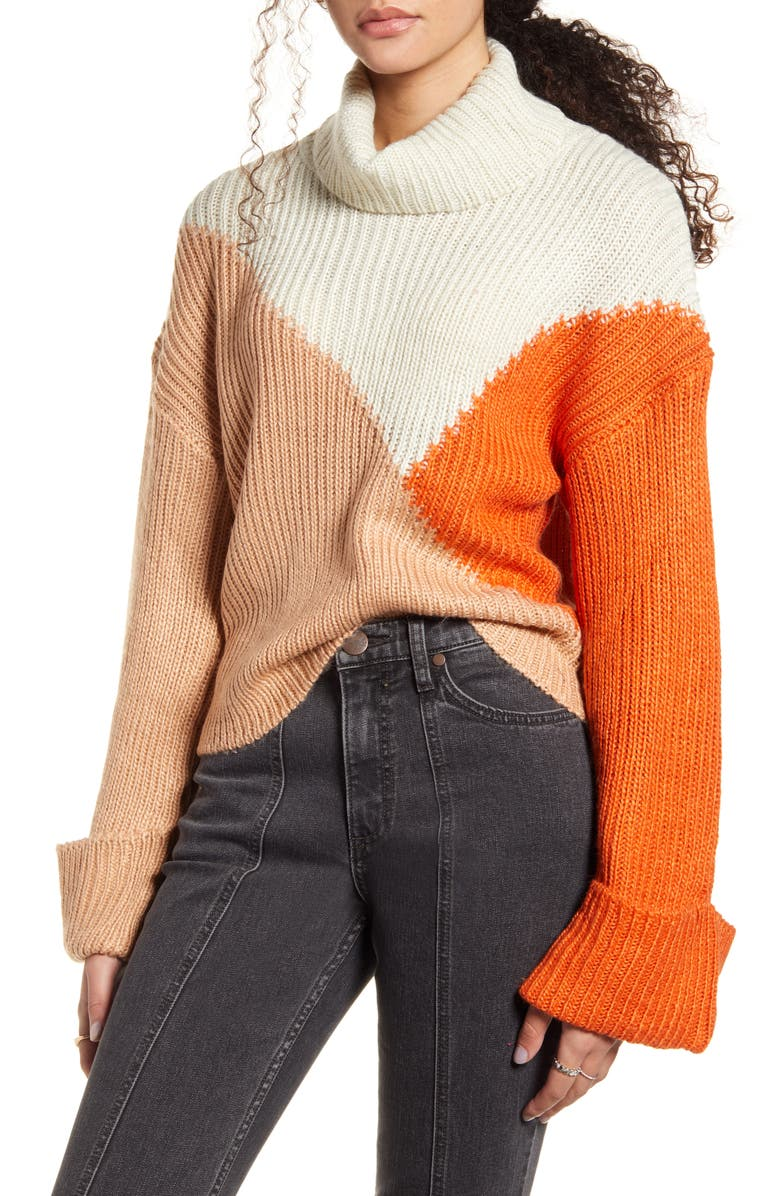 MINKPINK Colorblock Turtleneck Sweater, Main, color, MULTI