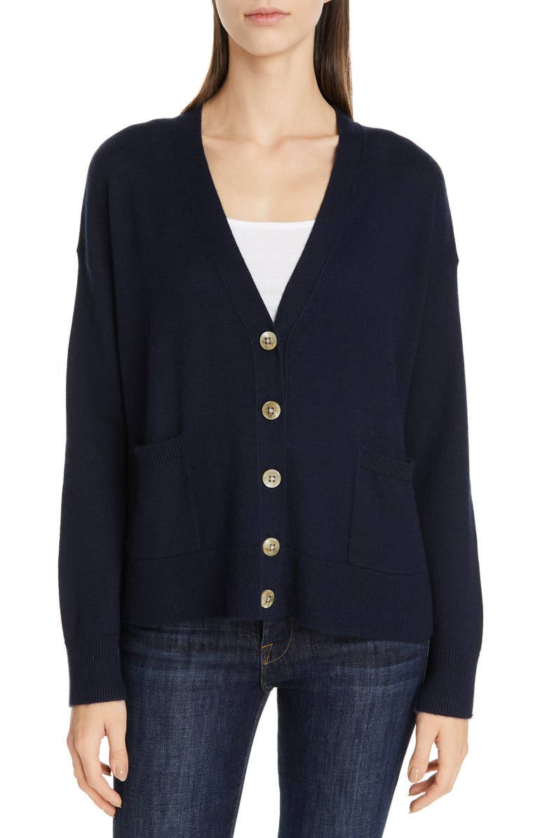 NORDSTROM SIGNATURE Button-Up Cashmere & Linen Cardigan, Main, color, 410
