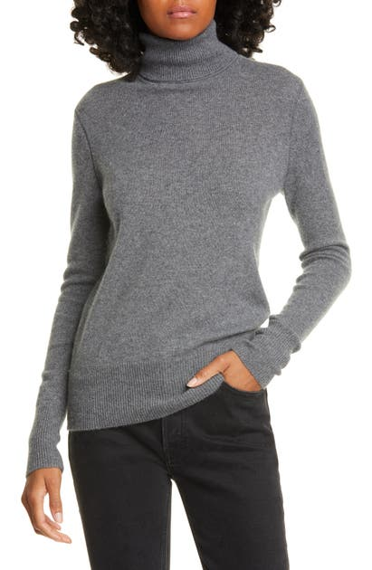 Equipment Delafine Cashmere Turtleneck Sweater In Heather Grey