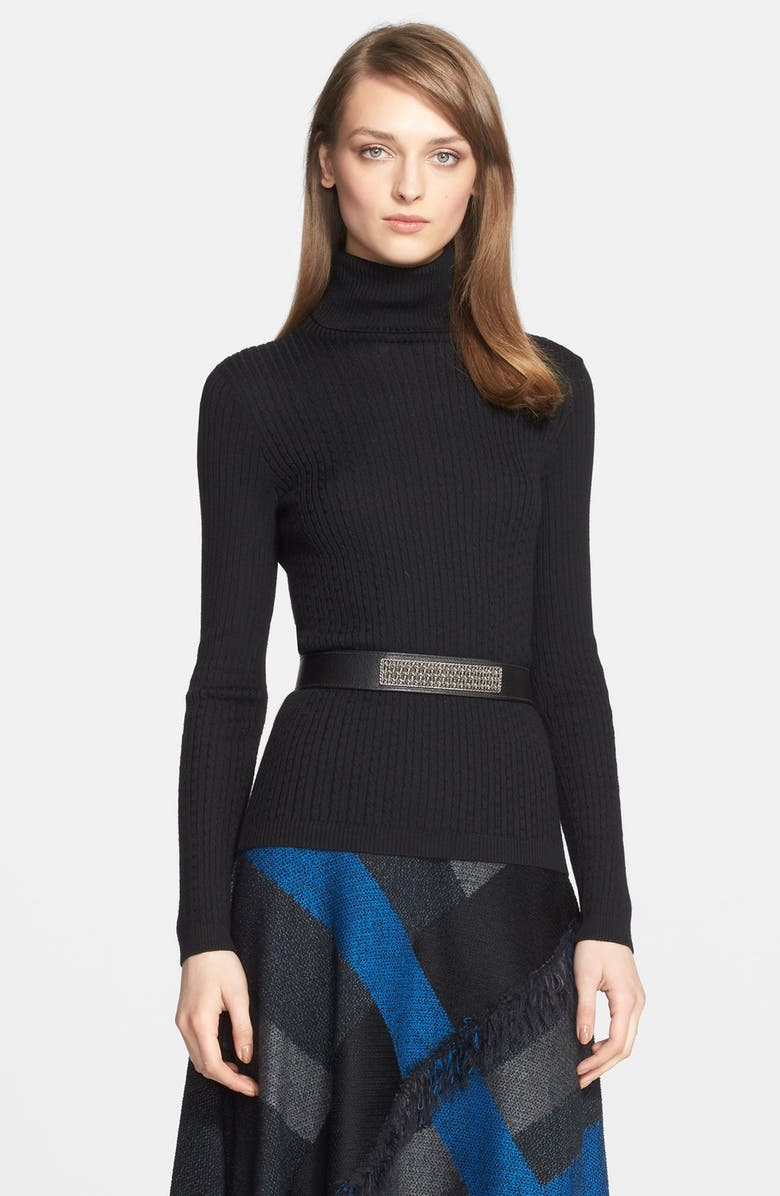 ST. JOHN COLLECTION Cable Knit Turtleneck Sweater, Main, color, 001