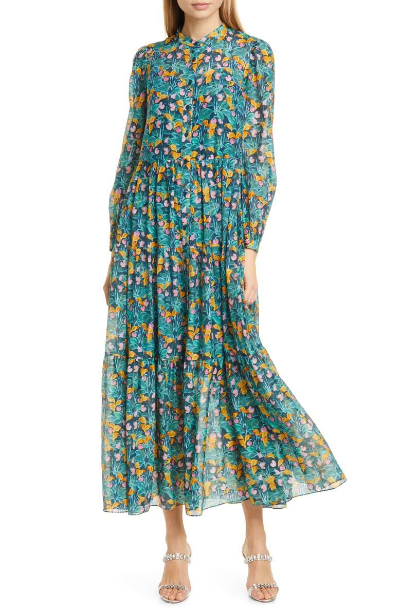 DVF Nea Floral Long Sleeve Shirtdress, Main, color, 300