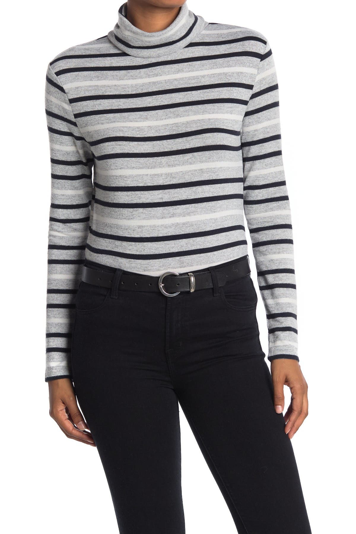 Image of BeachLunchLounge Shayna Striped Turtleneck Hacci Knit Top