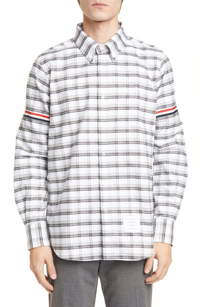 THOM BROWNE Armband Extra Slim Fit Check Button-Down Shirt, Main, color, MED GREY
