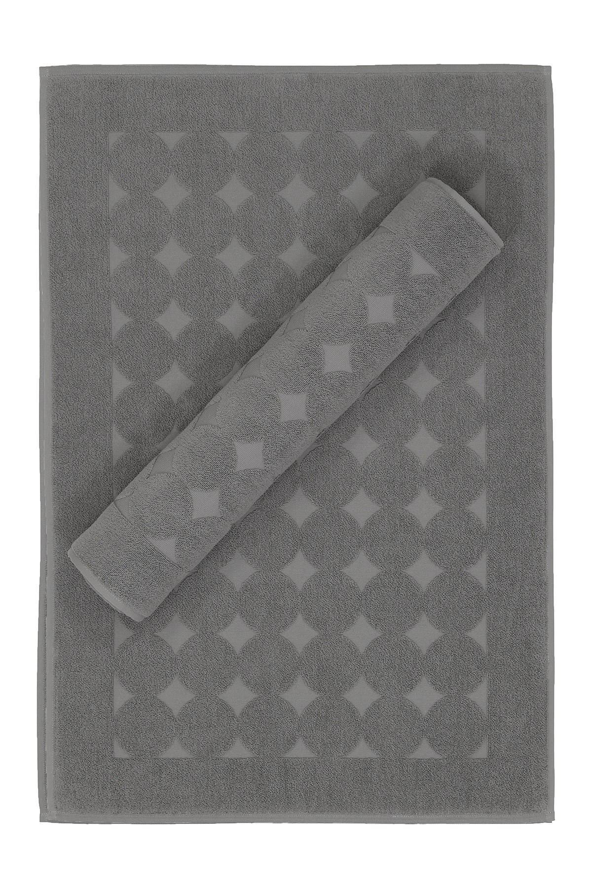Image of LINUM TOWELS Sinemis Circle Design Bath Mats - Set of 2 - Dark Grey
