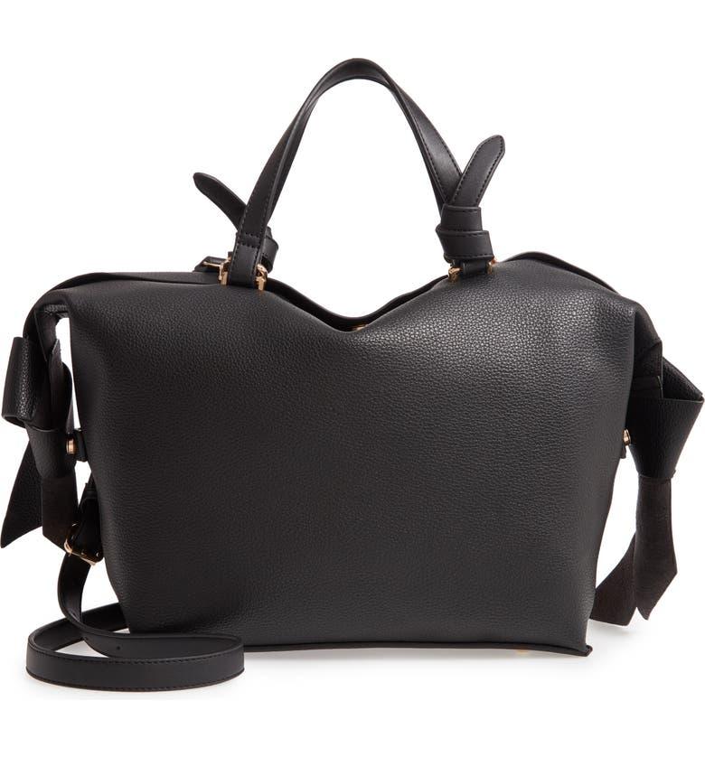 SONDRA ROBERTS Faux Leather Satchel, Main, color, BLACK