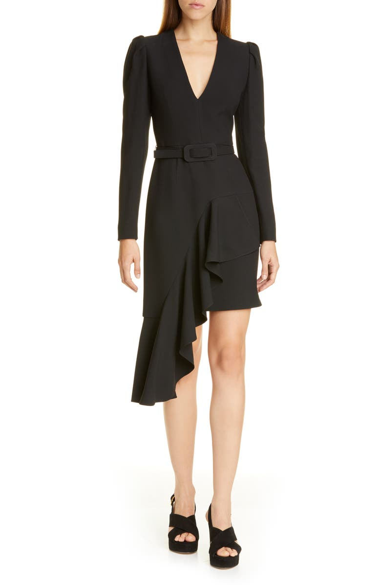 MICHAEL KORS COLLECTION Michael Kors Belted Long Sleeve Asymmetrical Dress, Main, color, BLACK