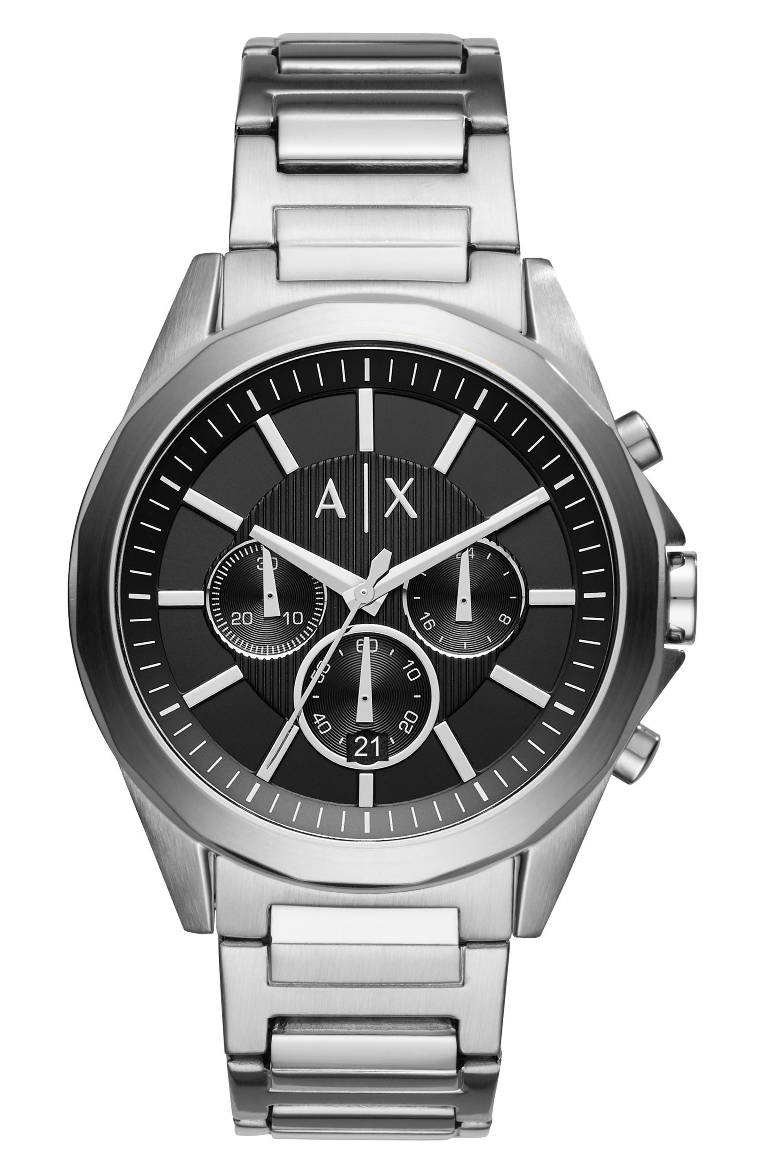 ,                             Chronograph Bracelet Watch, 44mm,                             Main thumbnail 1, color,                             BLACK/ SILVER
