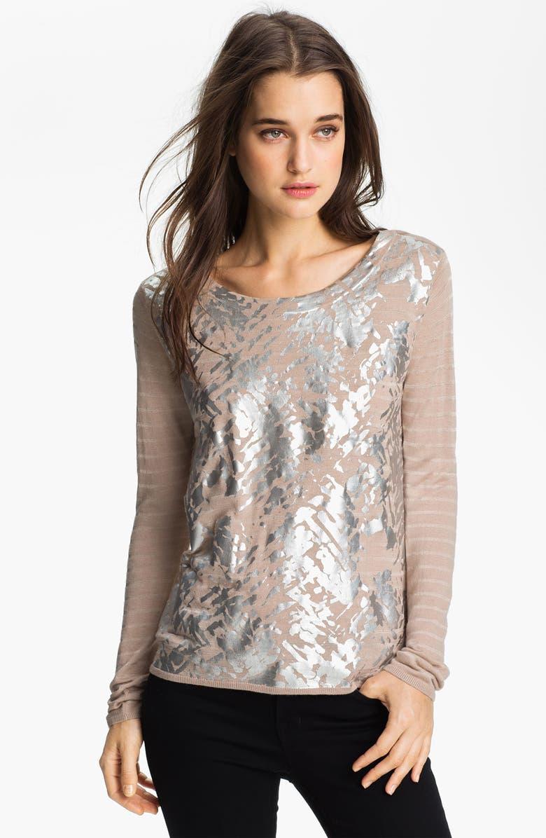 TROUVÉ Foil Print Sweater, Main, color, 270