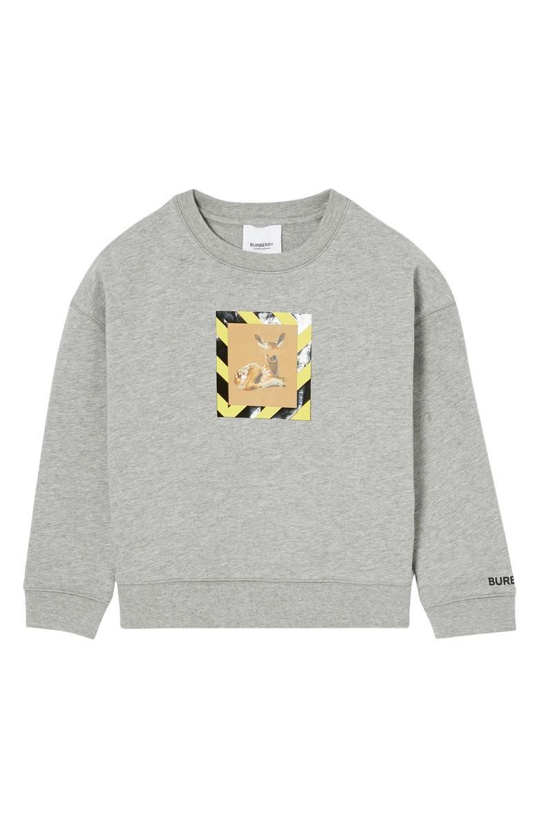 BURBERRY Elbrook Deer Sweatshirt, Main, color, GREY MELANGE