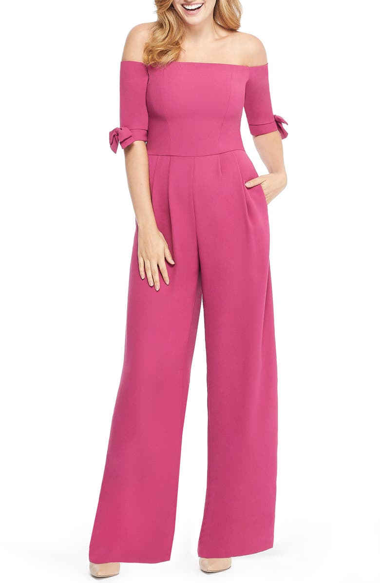 GAL MEETS GLAM COLLECTION Meredith Crepe Off the Shoulder Jumpsuit, Main, color, 690