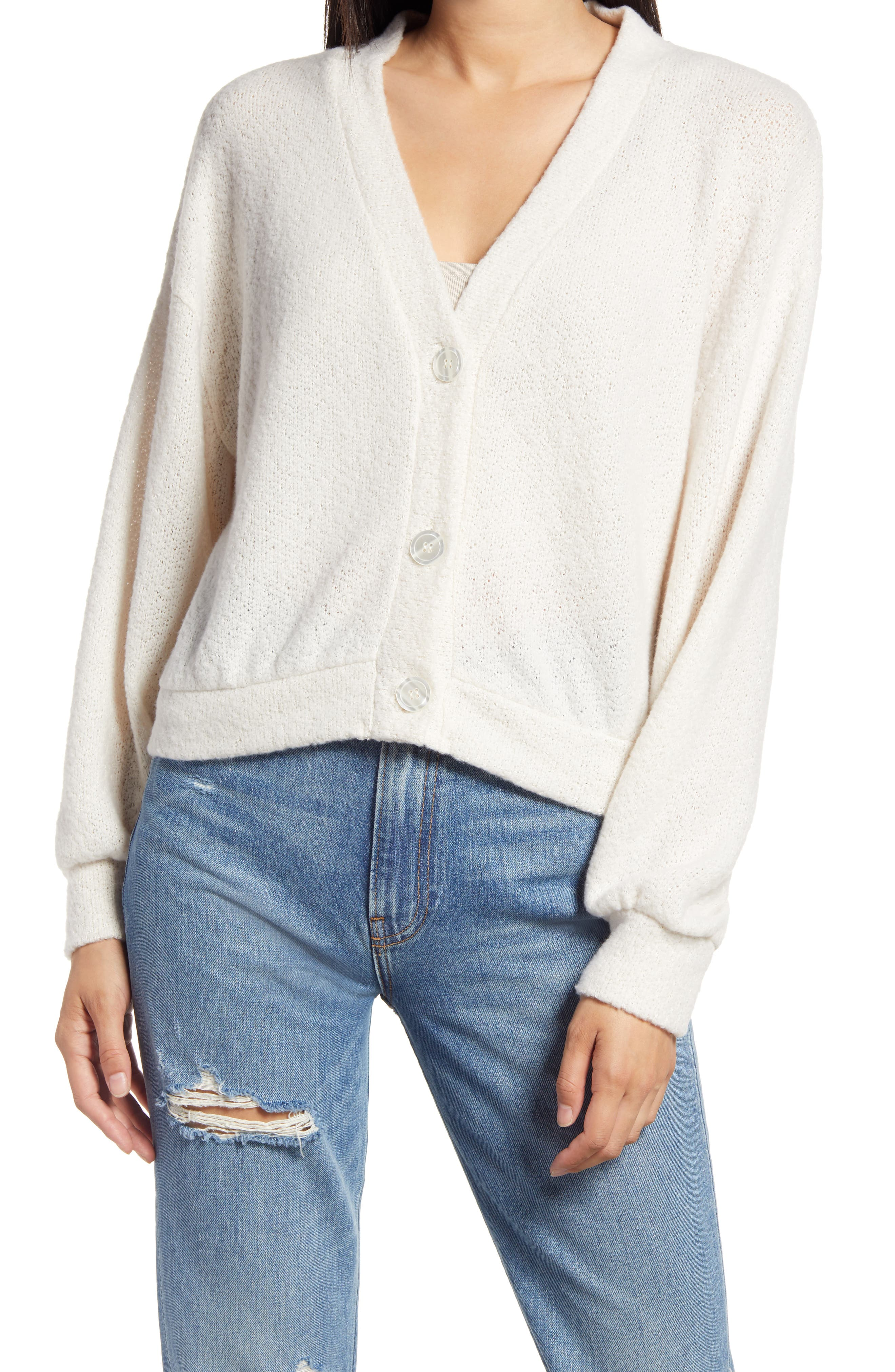 Pearly buttons enhance the pretty aesthetic of this soft, lightweight cardigan knit with a relaxed fit that\\\'s made for layering on cold days. Style Name: All In Favor V-Neck Cardigan. Style Number: 6133431. Available in stores.