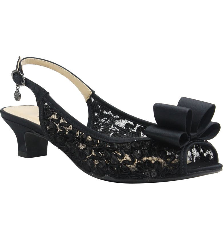 J. RENEÉ Landan Bow Slingback Sandal, Main, color, BLACK LACE