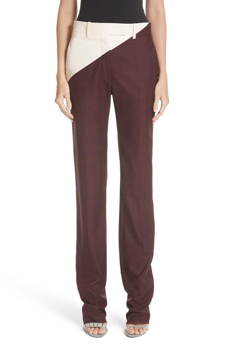 CALVIN KLEIN 205W39NYC Coated Panel Wool & Silk Pants, Main, color, 195