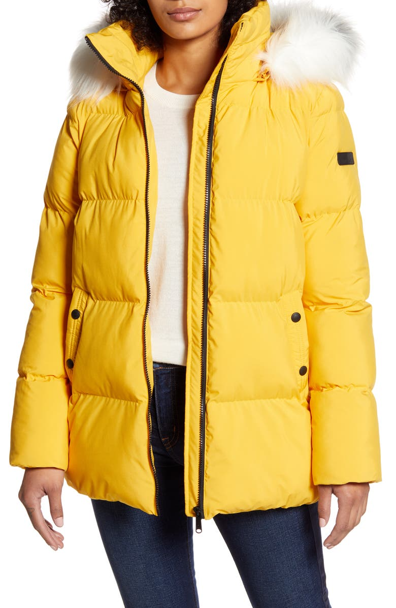 SAM EDELMAN Water Repellent Faux Fur Trim Puffer Jacket, Main, color, YELLOW