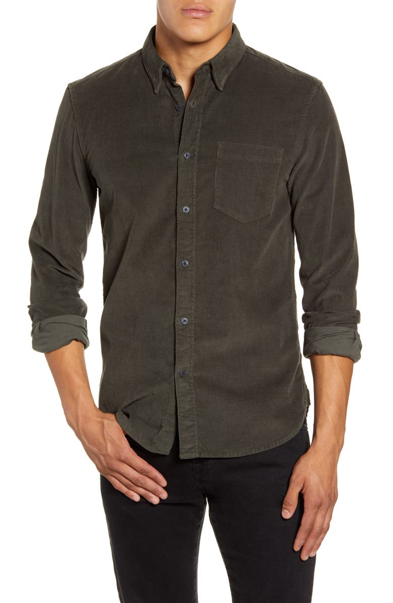FRENCH CONNECTION Slim Fit Button-Up Corduroy Shirt, Main, color, GREY/ GREEN