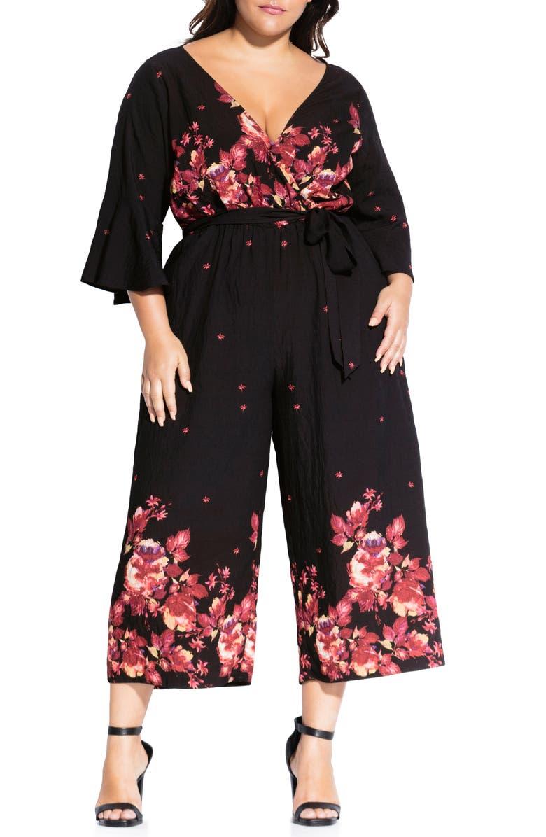 CITY CHIC Monet Rose Jumpsuit, Main, color, MONET BORDER