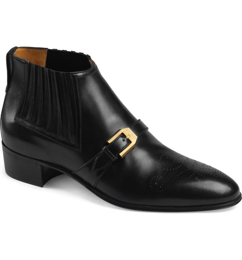 GUCCI Worsh Chelsea Boot, Main, color, NERO