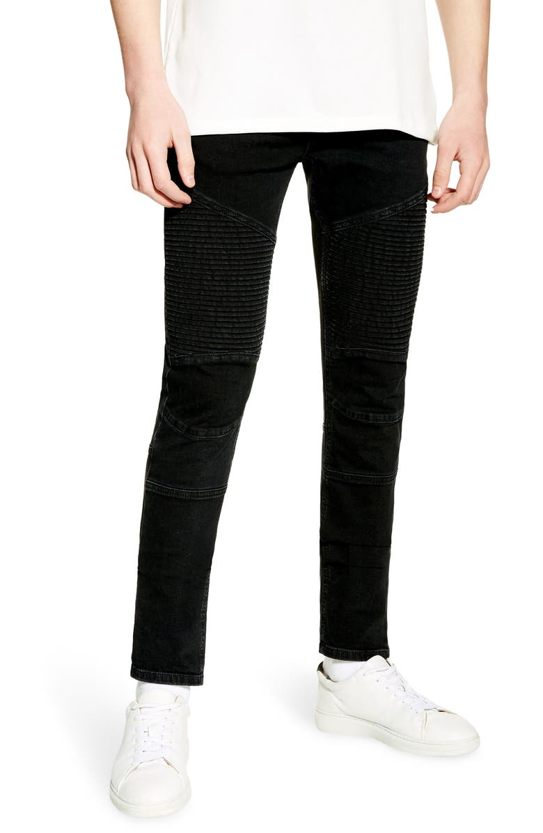 TOPMAN Skinny Fit Biker Jeans, Main, color, BLACK