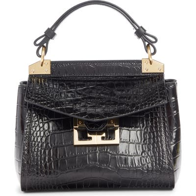 Givenchy Mini Mystic Croc Embossed Leather Satchel - Black