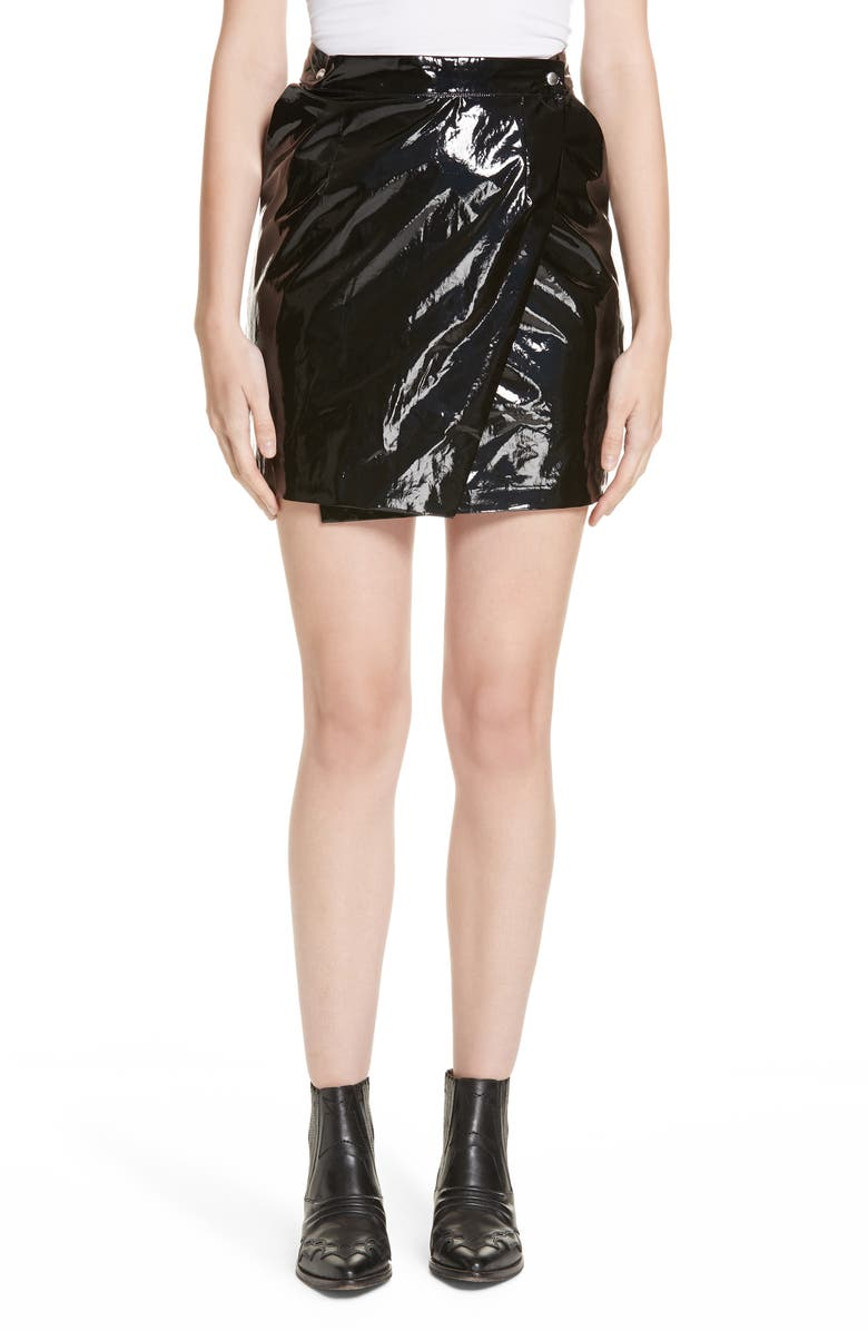 ROSEANNA Town Faux Patent Leather Wrap Miniskirt, Main, color, 001