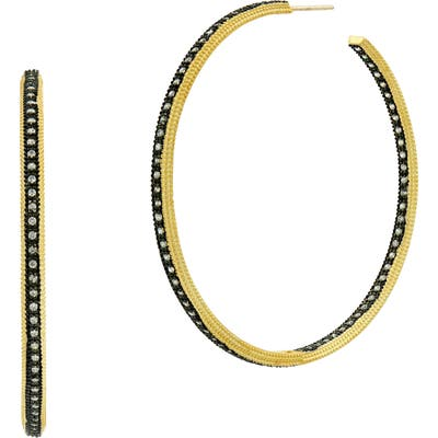 Freida Rothman Signature Classic Two-Tone Hoop Earrings