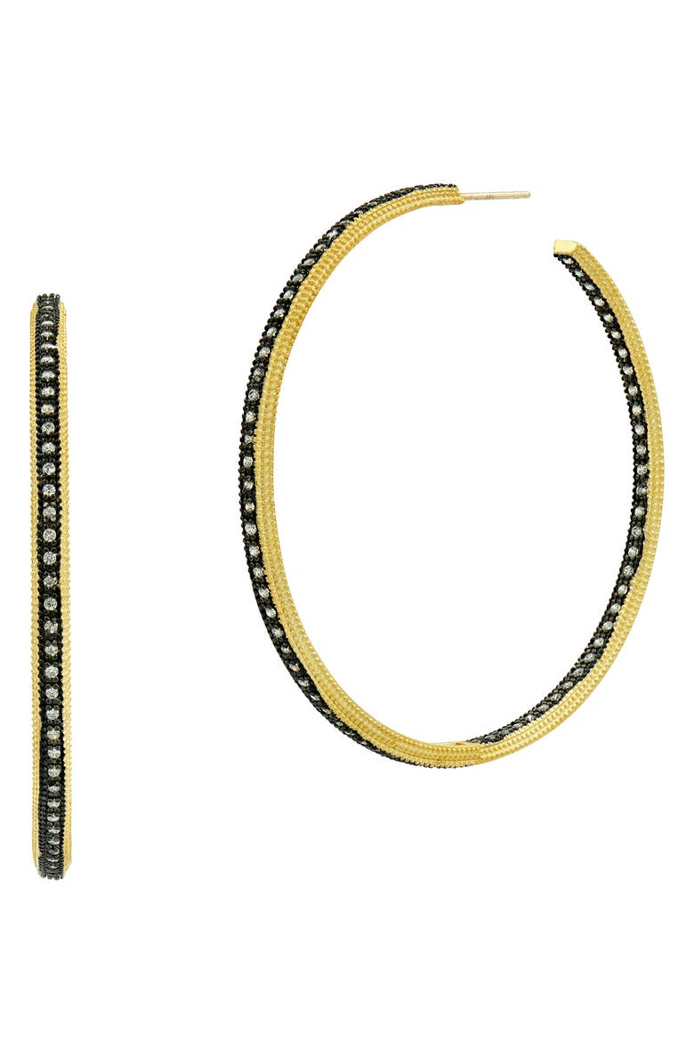 FREIDA ROTHMAN Signature Classic Two-Tone Hoop Earrings, Main, color, GOLD/ BLACK