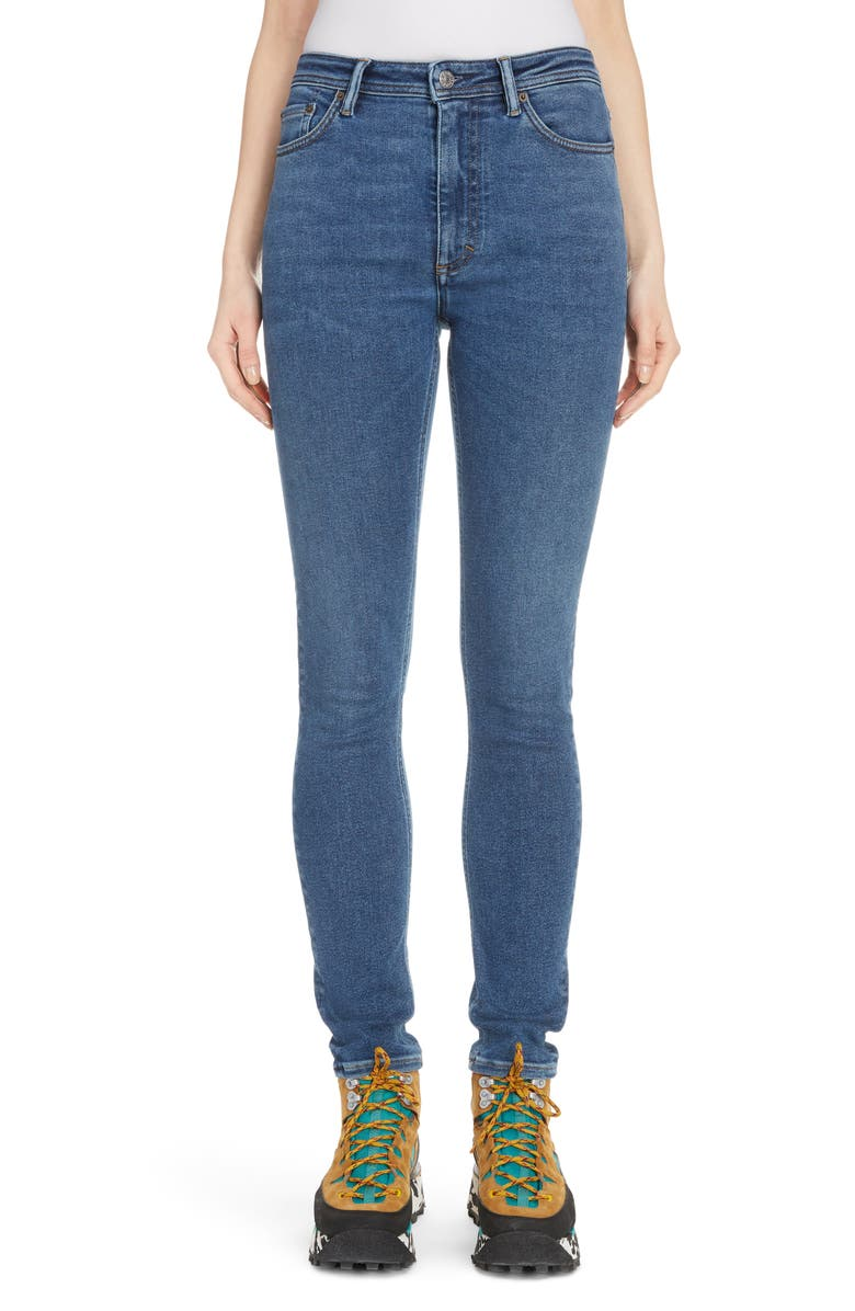 ACNE STUDIOS Peg High Waist Skinny Jeans, Main, color, MID BLUE